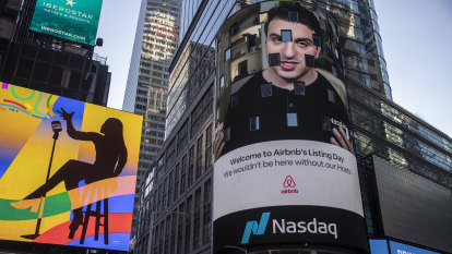 Airbnb joins $US100b club as shares more than double on long-awaited Wall Street debut
