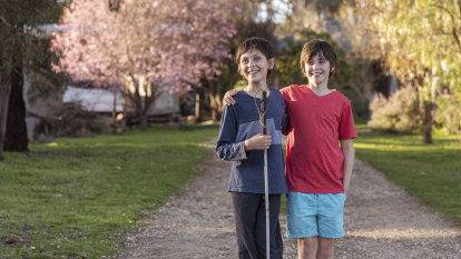When a tumour claimed Jarrah's remaining eye, Mathilde became his sight at school