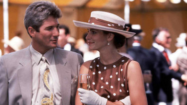 One of the many iconic looks worn by Julia Roberts in Pretty Woman.