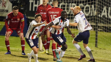Abraham Majok of the Mariners celebrates after scoring the winning goal during the FFA Cup quarter final.