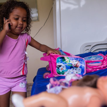 Four-year-old Sofya Marques, of Barra Longa, has been unwell since coming into contact with the tailings mud. Her mother, Simone, now an activist, has found it hard to make ends meet.