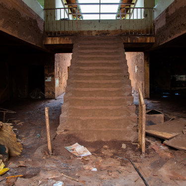 Flood lines: the senior school at Paracatu de Baixo, downstream from the BHP-owned Samarco Fundao Dam, was engulfed in mud up to the second storey.