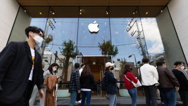 Queues outside the Apple store in the Gangnam district of Seoul, South Korea, on Saturday.
