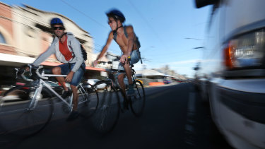 Cyclists in Sydney Road, Brunswick.