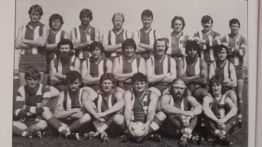 Martyn Bain (back row, far left) playing for the Gippsland club Lindenow South in its 1984 reserves premiership team.