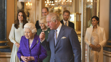 """Prince Charles says he misses his family """"terribly"""" and that FaceTime isn't the same. He's seen here with the Queen, Kate, Duchess of Cambridge, Camilla, Duchess of Cornwall, Prince William, Prince Harry and Meghan, Duchess of Sussex in March 2019."""