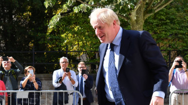 British Prime Minister Boris Johnson arrives ahead of Brexit talks at a restaurant in Luxembourg.