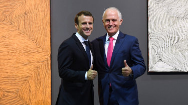 French President Emmanuel Macron and Australian Prime Minister Malcolm Turnbull at Carriageworks, Sydney, on Thursday.
