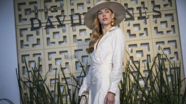 Victoria Lee stood out in ivory at the Caulfield Cup.