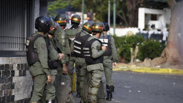 National Guard members during a protest in Caracas.