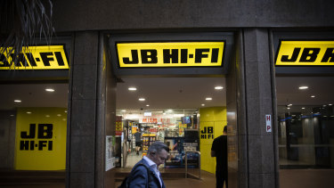 JB Hi-Fi's sales have soared 20 per cent during the pandemic shutdown.
