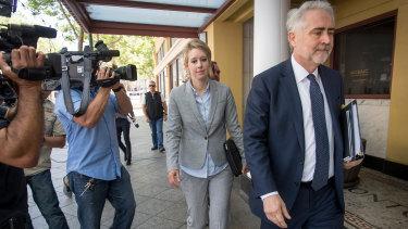 Suited up ... Elizabeth Holmes outside court on April 22.