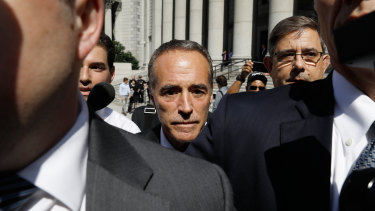 Chris Collins leaves a New York court on $500,000 bail on Wednesday.