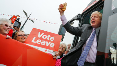 All aboard: then MP Boris Johnson campaigning for Brexit in a bus tour in 2016.