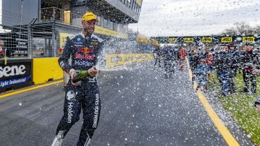 Just the start: Shane van Gisbergen of Red Bull Holden Racing celebrates victory at the Auckland SuperSprint Supercars Championship at Pukekohe Park.