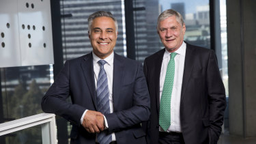 Latitude's new CEO Ahmed Fahour (left) with chairman Mike Tilley.