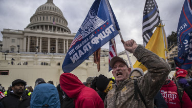 Demonstrators swarm the US Capitol building during a protest in Washington, D.C.