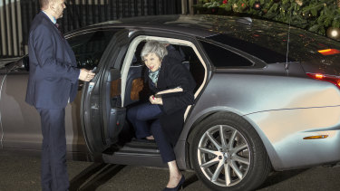 Theresa May returns to 10 Downing Street ahead of the Brexit vote.