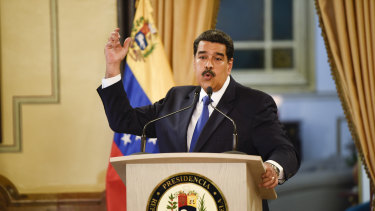 Nicolas Maduro during a televised press conference in Caracas, during which he denounced the presence of trailers of humanitarian aid brought to the Colombian border.