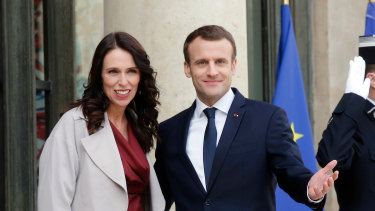 NZ Prime Minister Jacinda Ardern with French President Emmanuel Macron.