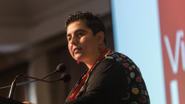 Hutch Hussein speaks at the state Labor conference on Sunday.