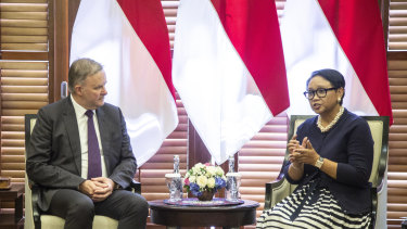 Labor leader Anthony Albanese meets Indonesian Foreign Minister Retno Marsudi at the Indonesian foreign ministry office in Jakarta.