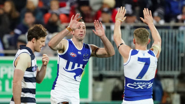Todd Goldstein celebrates his goal, which would turn out to be the Roos' only for the night.