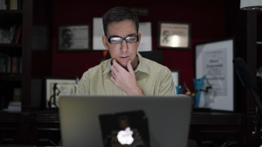 American journalist Glenn Greenwald checks his news website, The Intercept, at his home in Rio de Janeiro, Brazil.