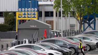 Tesla's staff carpark was at capacity on Monday.