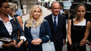 Virginia Roberts Giuffre with lawyer David Boies in New York this week.