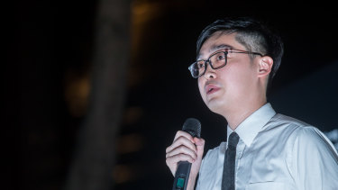 Andy Chan, a pro-independence political activist, speaks earlier this month during a demonstration in Hong  Kong.