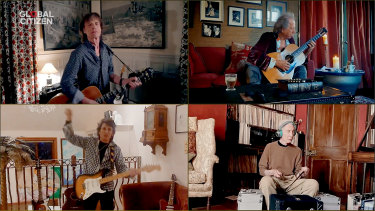 "Mick Jagger, Keith Richards, Ronnie Wood and Charlie Watts of musical group ""The Rolling Stones"" perform during ""One World: Together At Home"""