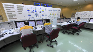 Iranian technicians work at the Bushehr nuclear power plant in this 2010 image released by Iran.