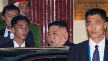 Kim Jong-un arrives at the North Korean embassy in Hanoi.
