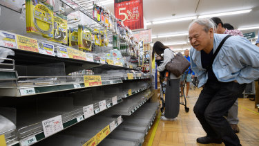 Empty shelves at a hardware store in Kanagawa Prefecture as residents prepare for Typhoon Hagibis.
