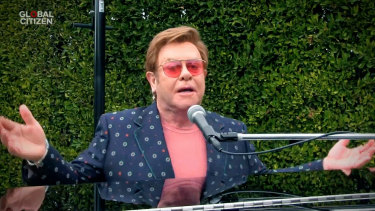 "Sir Elton John performs during ""One World: Together At Home""."
