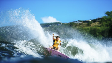 Australian surfing champion and legend, Stephanie Gilmore, carving it up.