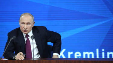 Vladimir Putin speaks during his annual news conference in Moscow on Thursday.