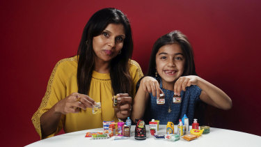 Sunita Mizar and her daughter Siyona Berghmans, 7, have collected Coles' Little Shop treasures.