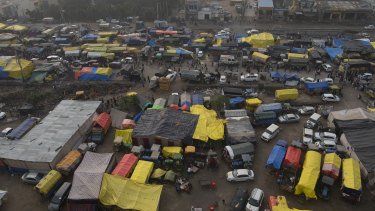 An aerial view of the farmers protest camp on the Singhu border with Delhi, India, on Friday.