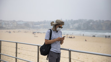 Smoke haze blankets Bondi Beach on January 8.
