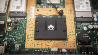 A circuit board sits on display in the exhibition hall at Huawei Technologies.