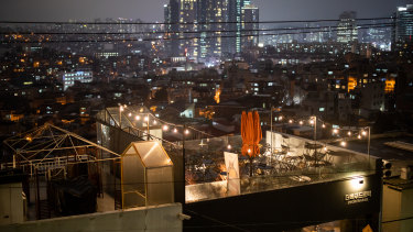 The rooftop of restaurant is empty at night in the Huamdong district of Seoul, South Korea.