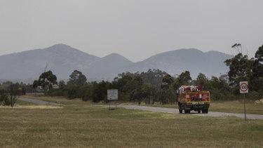 A fire truck on Little River Road.