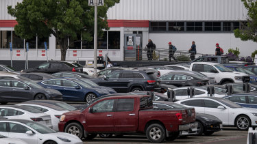 Employee parking lots at Tesla's factory have been back ed this week.