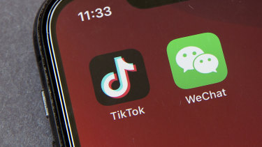 Icons for the smartphone apps TikTok and WeChat.