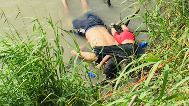The bodies of Salvadoran migrant Oscar Alberto Martínez Ramírez and his 23-month-old daughter Valeria on the bank of the Rio Grande after they died trying to cross into the US.