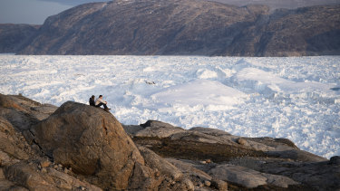 Greenland's Helheim glacier. Global warming is reshaping the politics around the semi-autonomous island.