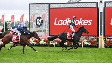 Sir Dragonet wins the Cox Plate with Cup jockey Glen Boss standing in the irons.