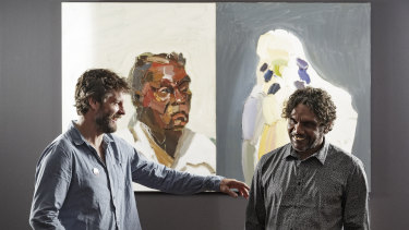 Quilty and Vincent Namatjira in front of Quilty's 2004 work <i>Albert</i>.